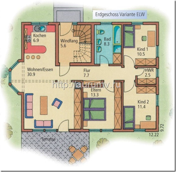 дом семейный поэтажный план вариант1 этаж1