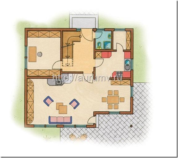 дом кантри 130 поэтажный план 1 этаж