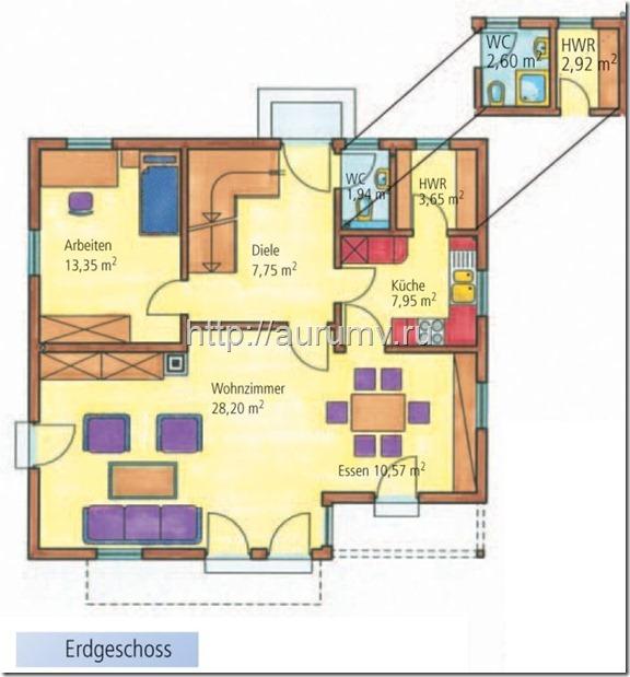 Энергоэффективный дом 150 поэтажный план 1