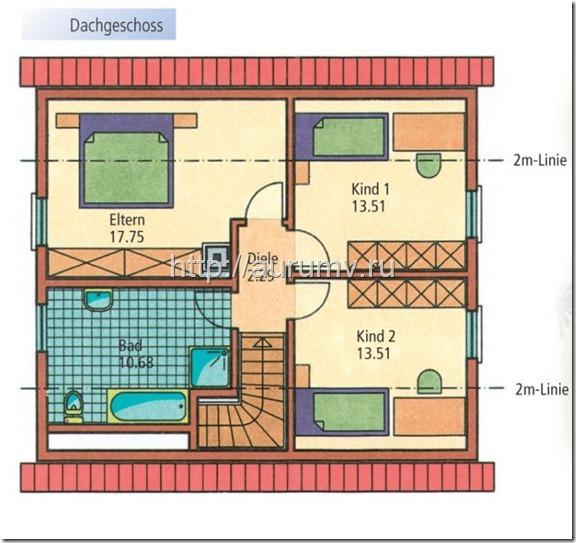 дом Компакт поэтажный план 2 этаж