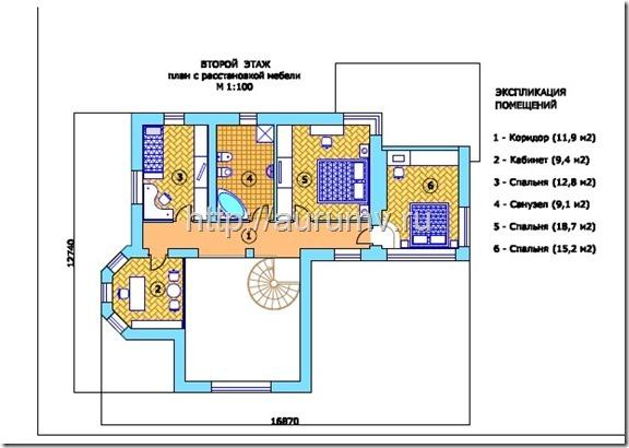 кирпичный коттедж проект №1 поэтажный план 2 этаж