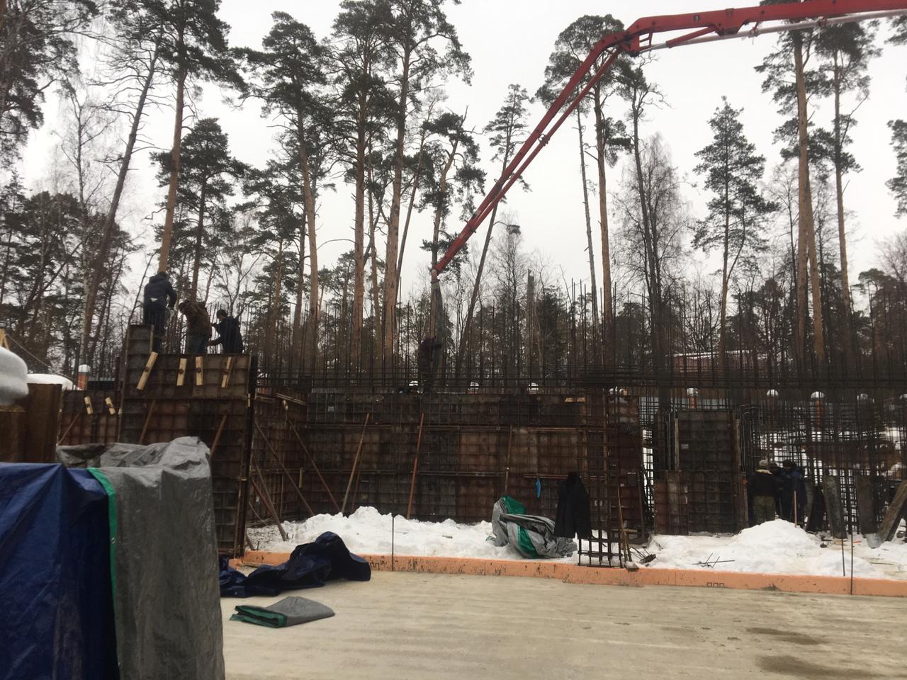 Коттеджей строительство зимой фото