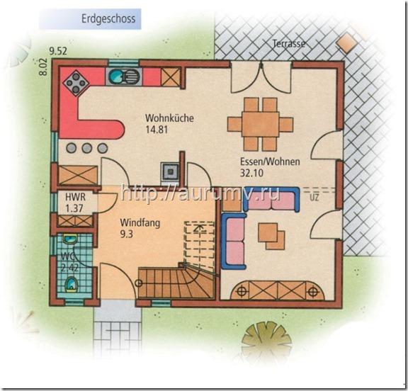 дом Компакт поэтажный план 1 этаж