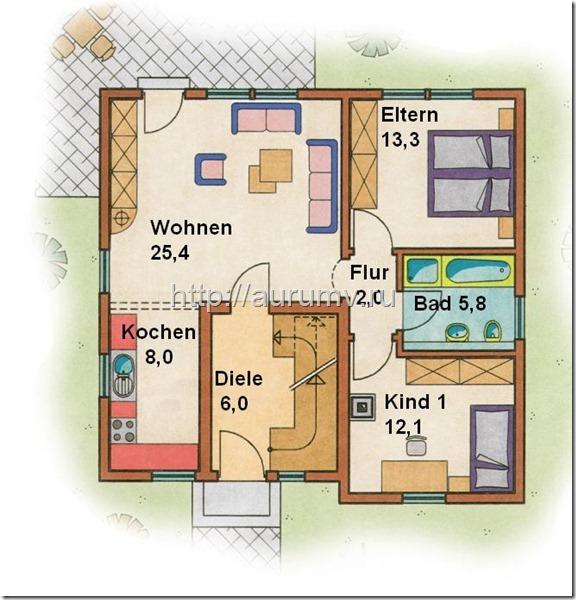 проект Комби вариант 2 поэтажный план 1 этаж