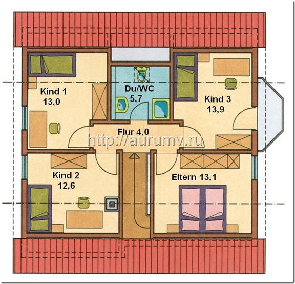 проект Комби с эркером поэтажный план 2 этаж