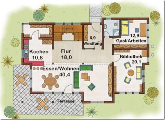 коттедж Резиденция 233 поэтажный план 1 этаж