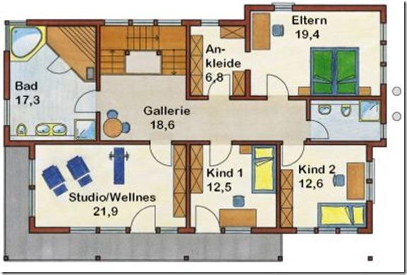 коттедж Резиденция 233 поэтажный план 2 этаж