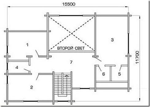 проект коттеджа из клееного бруса поэтажка 2этаж