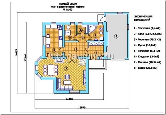 кирпичный коттедж проект №1 поэтажный план 1 этаж
